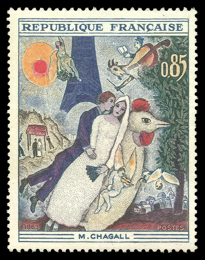 Oblubienica i wieża eifla Chagall fotografia royalty free