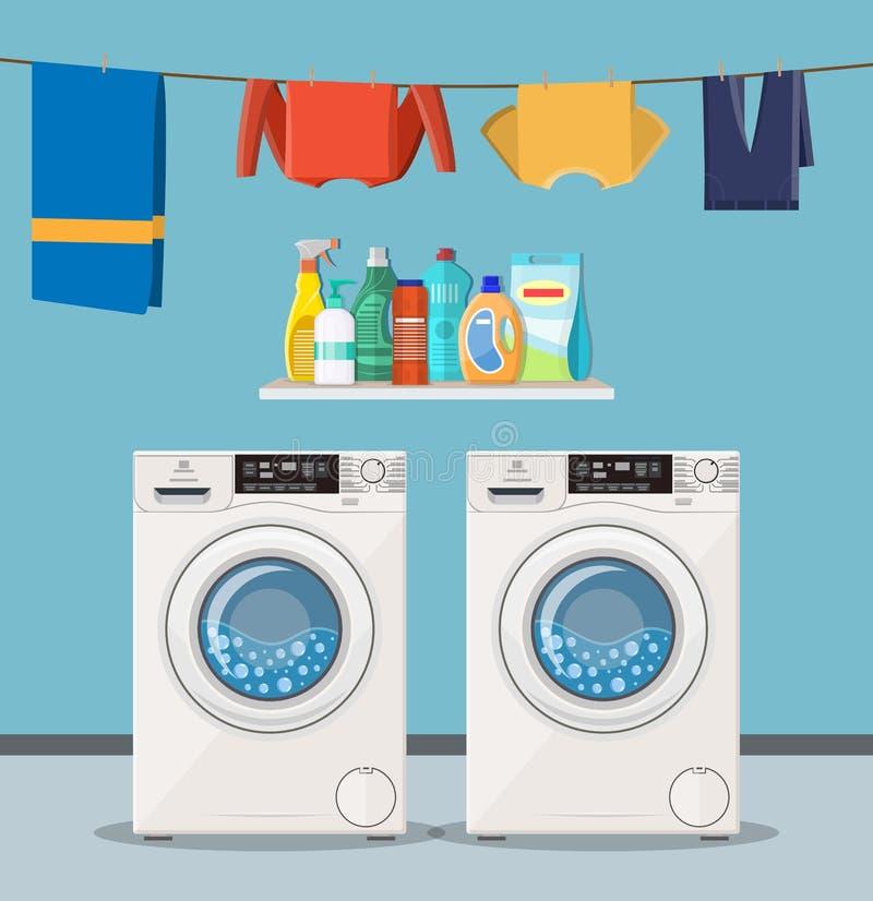 Obmycie maszyna z pralnianej usługa ikonami ilustracja wektor