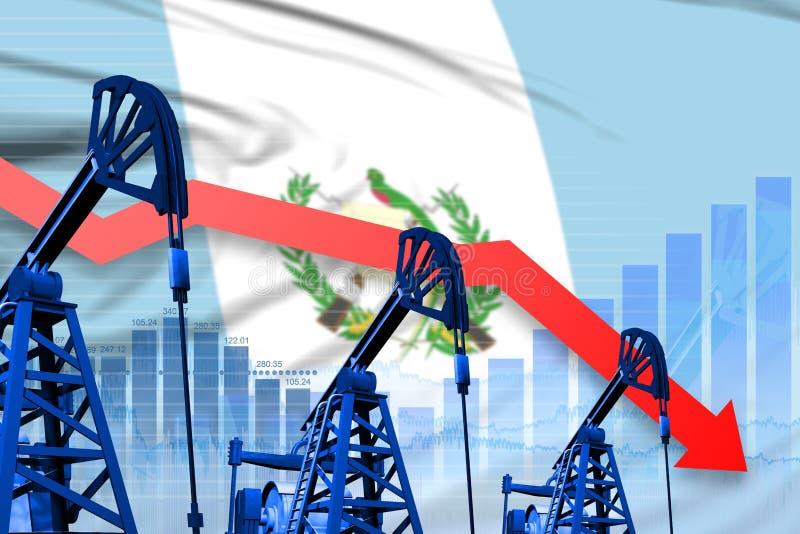 Obniżający, spadać wykres na Gwatemala flagi tle, - przemysłowa ilustracja Gwatemala przemysł paliwowy lub rynku pojęcie 3d ilustracji