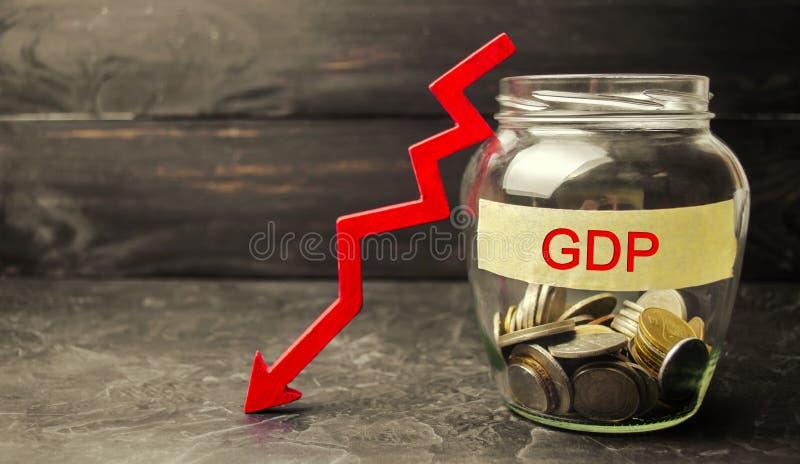 Obniża i niepokoi zmniejszanie GDP - niepowodzenie i awaria gospodarka i finanse prowadzi kryzys finansowy Kropla w brutto zdjęcia royalty free