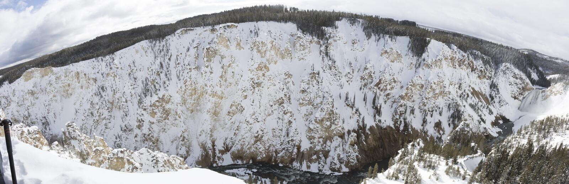 Obniża spadków i Yellowstone Rzeczną panoramę przy Uroczystym jarem Ye zdjęcie stock