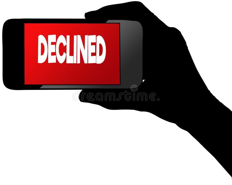 OBNIŻAJĄCY na czerwonym smartphone ekranie ilustracji