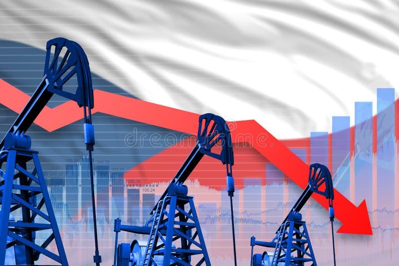 Obniżający, spadać wykres na Czechia flagi tle, - przemysłowa ilustracja Czechia przemysł paliwowy lub rynku pojęcie 3d illustr ilustracja wektor