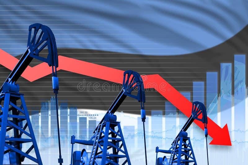 Obniżający, spadać wykres na Estonia flagi tle, - przemysłowa ilustracja Estonia przemysł paliwowy lub rynku pojęcie 3d royalty ilustracja