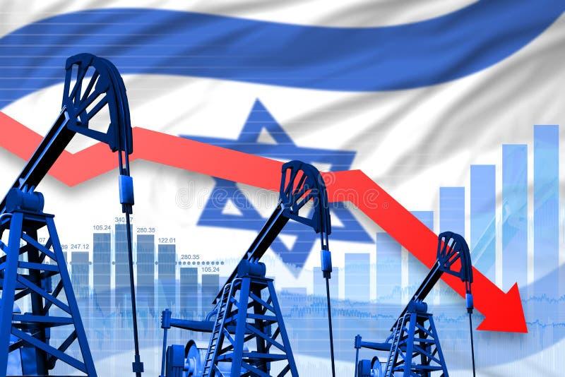 Obniżający, spadać wykres na Izrael flagi tle, - przemysłowa ilustracja Izrael przemysł paliwowy lub rynku pojęcie 3d ilustracja wektor