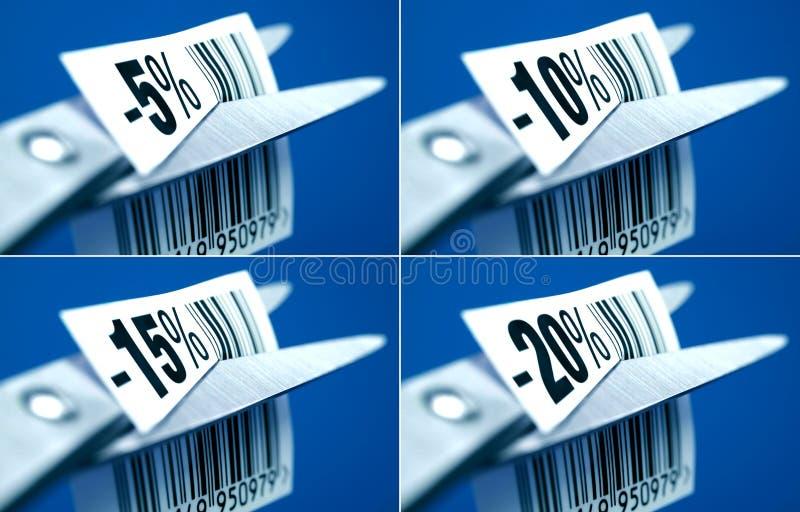 Obniżonych cen etykietki fotografia royalty free