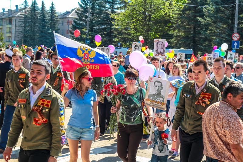 Obninsk Rosja, Maj, - 9, 2016: Świętowanie zwycięstwo dzień, Wielka Patriotyczna wojna 1941-1945 obraz stock