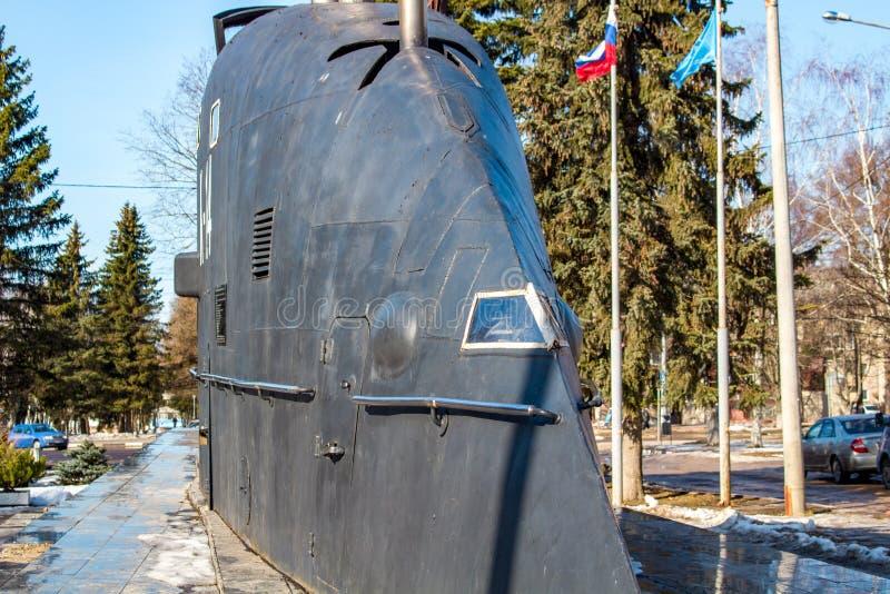 Obninsk, Rusia - marzo de 2016: Monumento a los pioneros de la flota submarina nuclear de Rusia imágenes de archivo libres de regalías