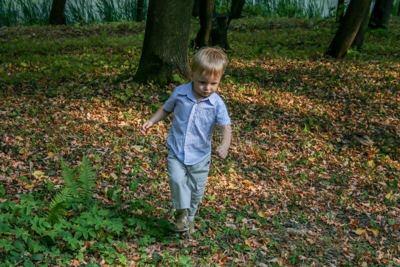 2010 08 15, Obninsk, Rusland Weinig jongen die en door de speelplaats in het park lopen springen royalty-vrije stock afbeeldingen