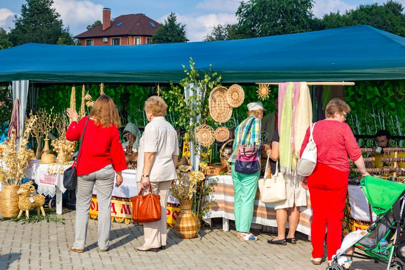 OBNINSK, RUSSIA - JULY 28, 2017: Festival of Folk Art and Crafts stock image