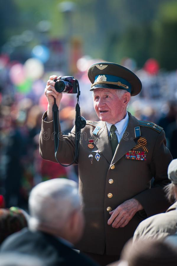 OBNINSK, RUSSIA - MAY 9, 2015: Veteran of the war on Victory Day stock photo