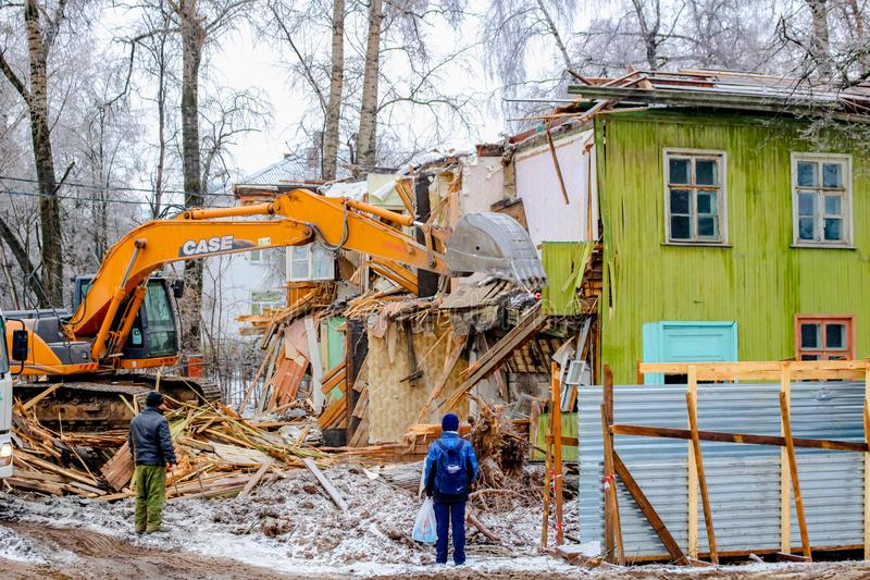 Obninsk, Russia - November 2016: Demolition of old wooden ramshackle houses stock photos
