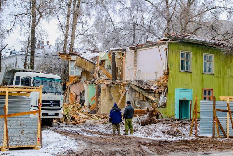Obninsk, Russia - November 2016: Demolition of old wooden ramshackle houses stock images