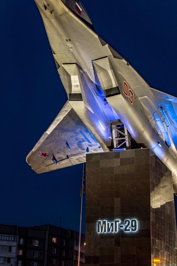 Obninsk, Russie - juillet 2016 : Monument-avion sur le piédestal MiG-29 photo stock