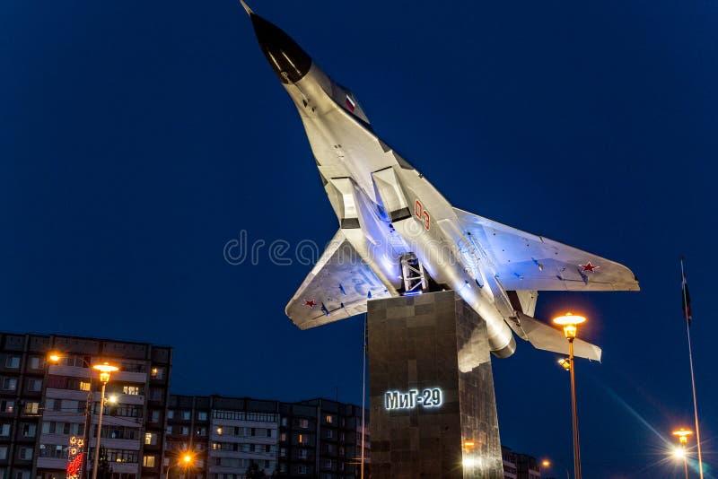 Obninsk, Russland - Juli 2016: Monument-Fläche auf Sockel MiG-29 stockfoto