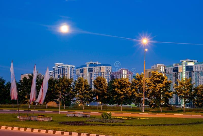 OBNINSK, RUSSLAND - JUNI 2016: Stadtbild nachts stockfotos