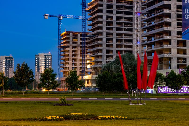 OBNINSK, RUSSLAND - JUNI 2016: Stadtbild nachts lizenzfreies stockfoto