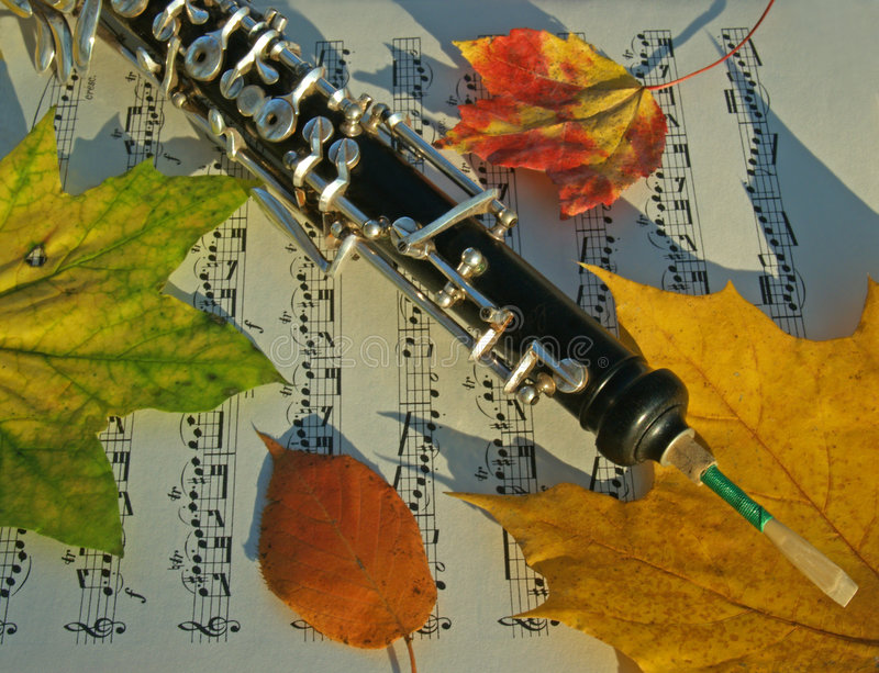 Download Oboe, Autumn Leaves & Music Page Royalty Free Stock Image - Image: 4567886
