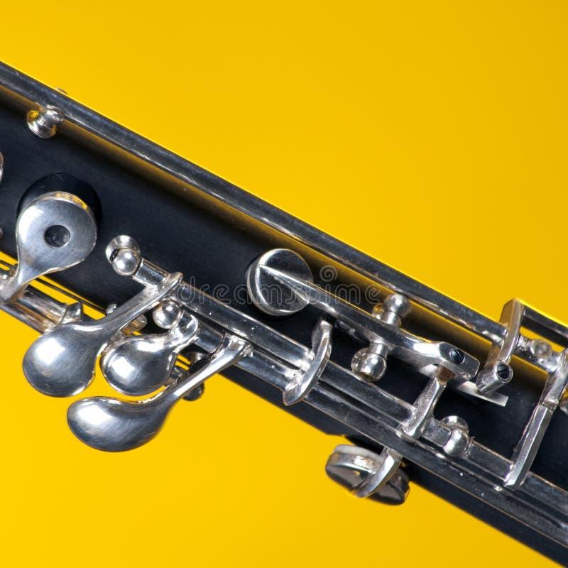 Oboe ha isolato sul colore giallo fotografia stock libera da diritti