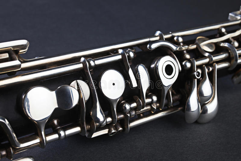 Oboe musical instrument detail stock images