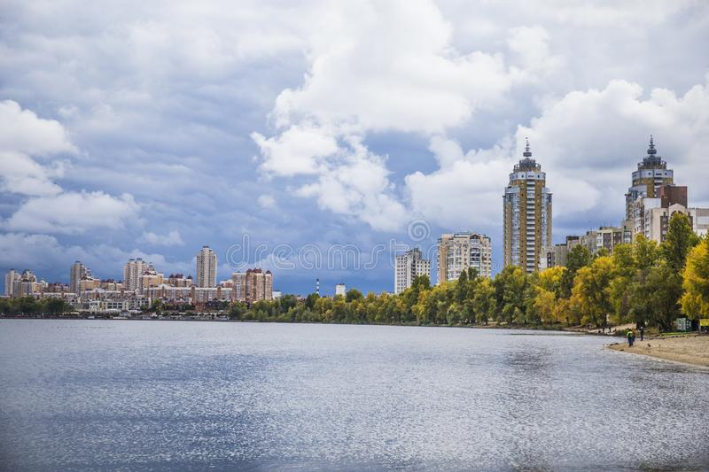 Obolonskaya Embankment, Kyiv, Ukraine. Obolonskaya embankment on a cloudy day,september 2019, autumn, Kyiv, Ukraine stock images