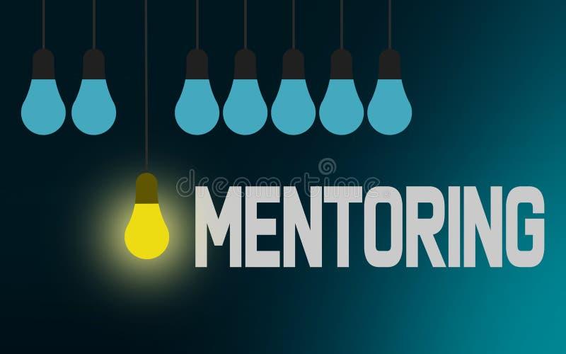 Obowiązki mentora słowo z oświetleniową żarówką ilustracji