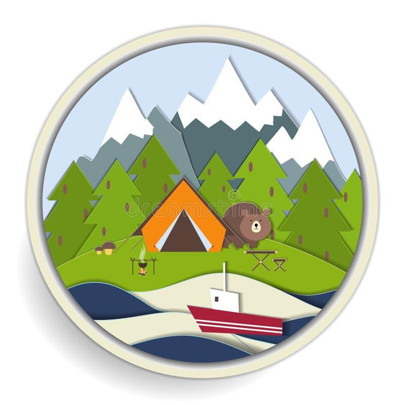 Obozować i lasowa rekreacyjna odznaka ilustracji