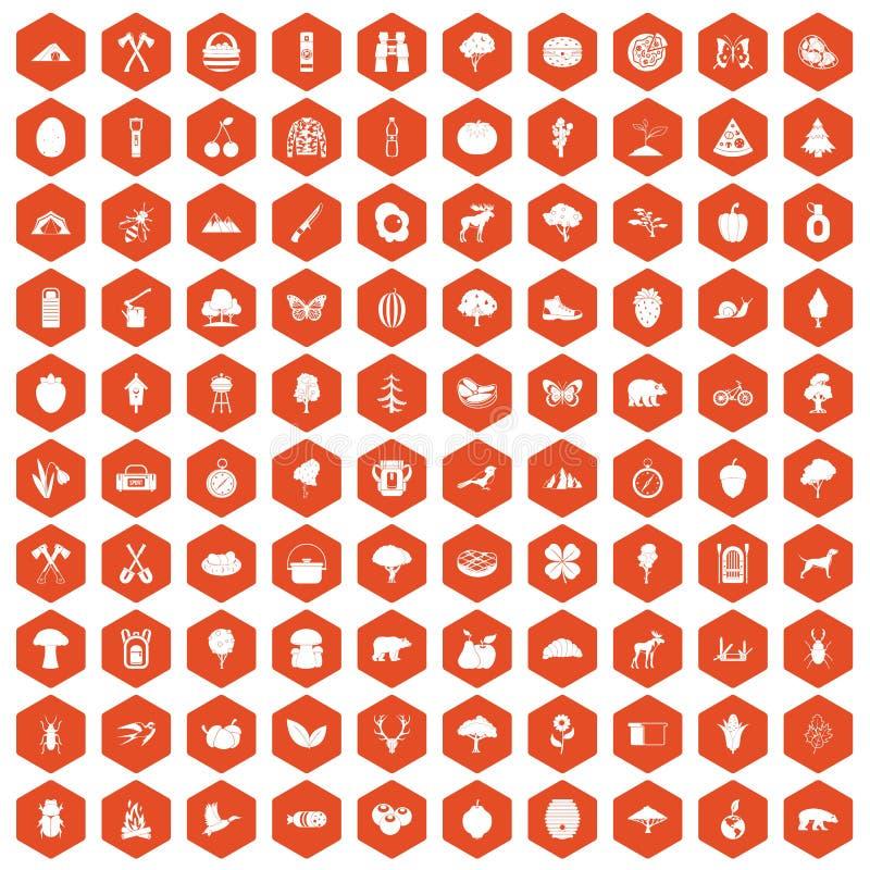 100 obozować i natury ikon sześciokąta pomarańcz royalty ilustracja