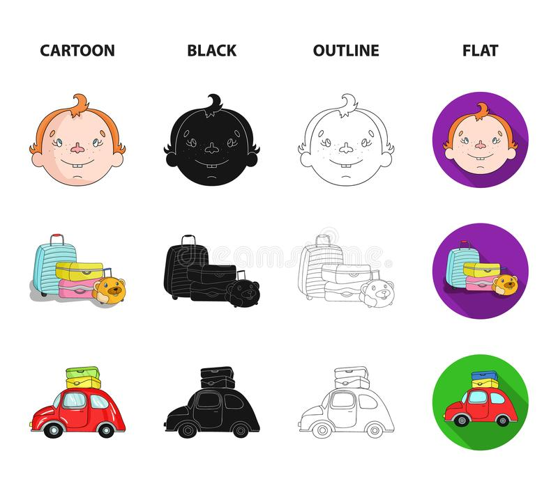 Obozować, kobieta, chłopiec, torba Rodzinnego wakacje ustalone inkasowe ikony w kreskówce, czerń, kontur, mieszkanie symbolu styl ilustracji