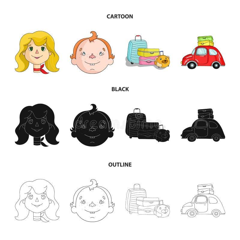 Obozować, kobieta, chłopiec, torba Rodzinnego wakacje ustalone inkasowe ikony w kreskówce, czerń, konturu symbolu stylowy wektoro royalty ilustracja