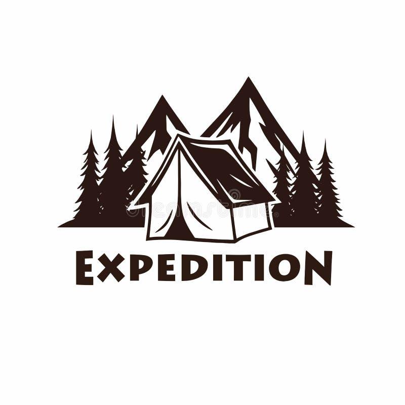 Obozować, ognisko, Halnego rocznika Wektorowy logo i etykietki Ustawiający, Ilustracja dla sporta i odtwarzania ilustracji