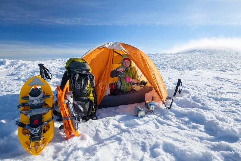 Obozować podczas zimy   fotografia stock