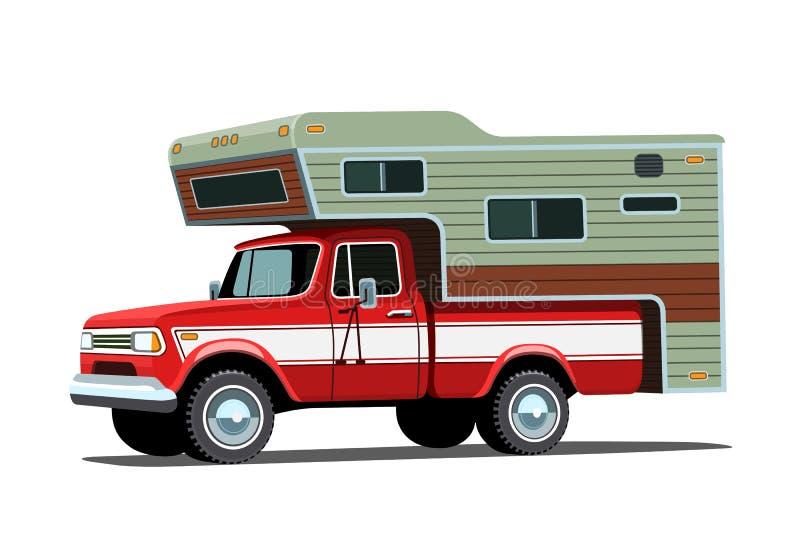 Obozowicz skorupa na czerwonej furgonetce royalty ilustracja
