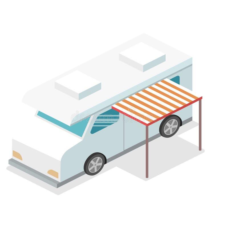 Obozowicza samochód dostawczy Płaska 3d ilustracja ilustracja wektor