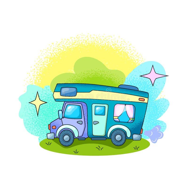 Obozowicza samochodowy plenerowy w lasowej RV samochodowej wektorowej ilustracji na białym tle Lato podr??y transport Podr?? poja royalty ilustracja