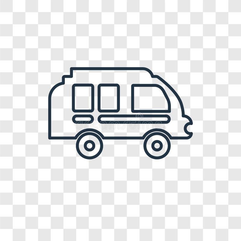 Obozowicza samochodu dostawczego pojęcia wektorowa liniowa ikona odizolowywająca na przejrzystych półdupkach ilustracja wektor