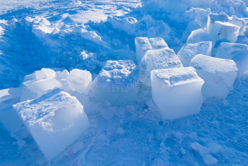 Obozowy Barneo przy biegunu północnego sześcianu wzoru śnieżnymi prostymi śnieżnymi płatkami śniegu wykłada zdjęcia stock