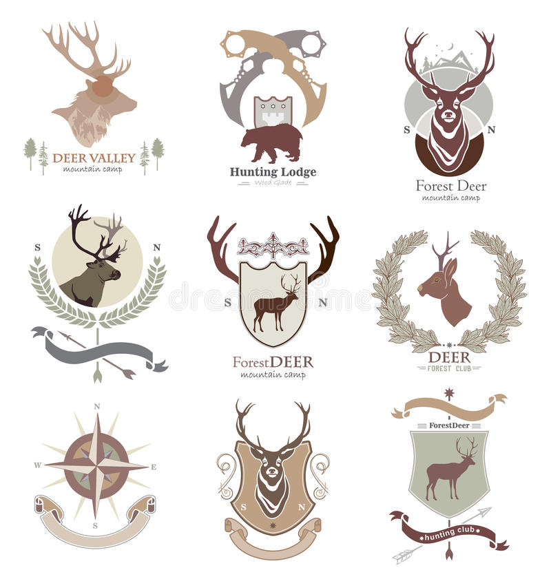 Obozowy stylowy campingu i polowania klub, logo, emblemat, ilustracja w wektorowym formacie stosownym dla sieci, druk ilustracji