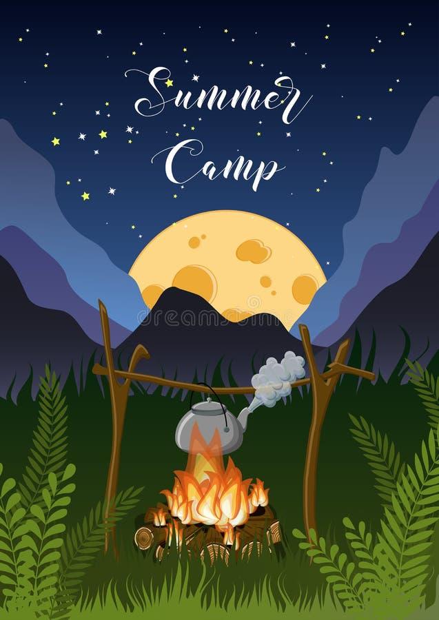 Obozu letniego plakat z nocy g?r?, trawa, ksi??yc krajobraz, ognisko, czajnik na gwia?dzistym niebie ilustracji