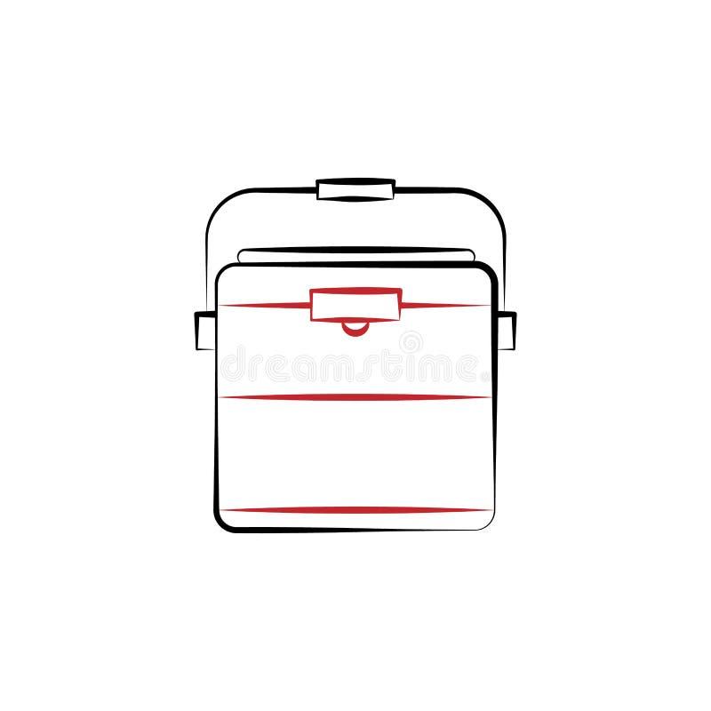 Obozujący, chłodni 2 barwiąca kreskowa ikona Prosta ręka rysująca koloru elementu ilustracja Obozujący, chłodnia konturu symbolu  ilustracji