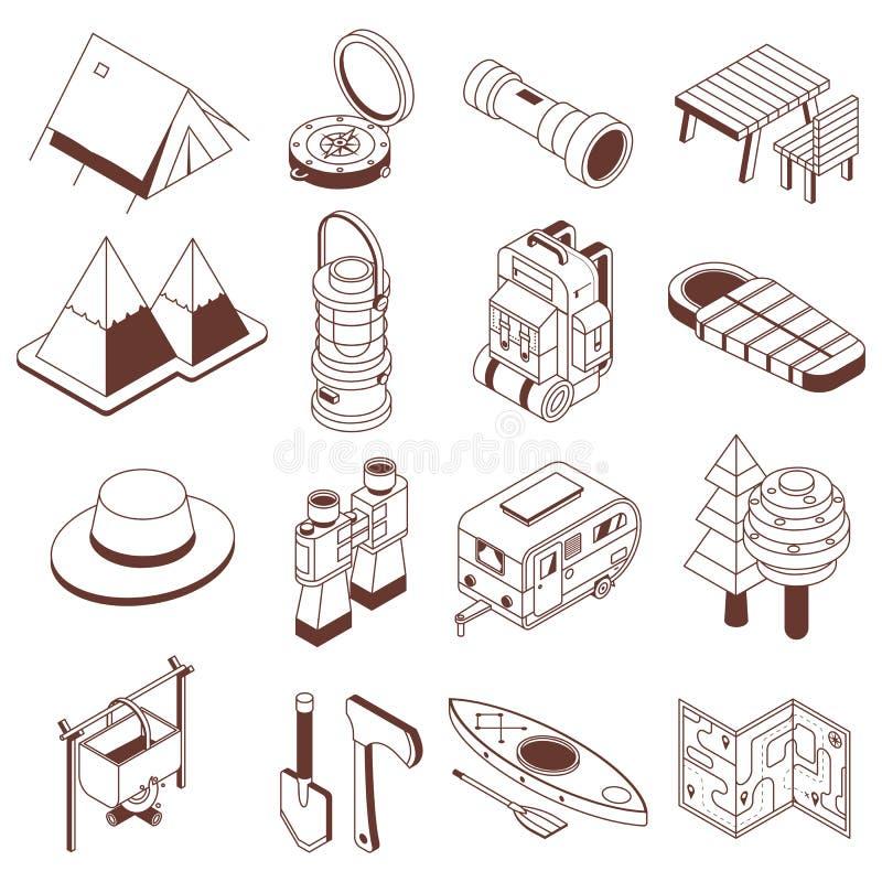 Obozujący i Wycieczkujący Isometric Monochromatyczne ikony ilustracja wektor