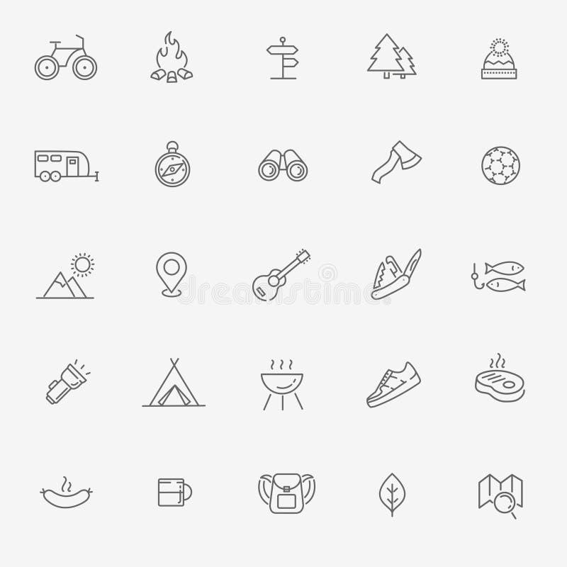 Obozujący, ikono, Wycieczkować, natury i Plenerowych aktywność, ilustracja wektor