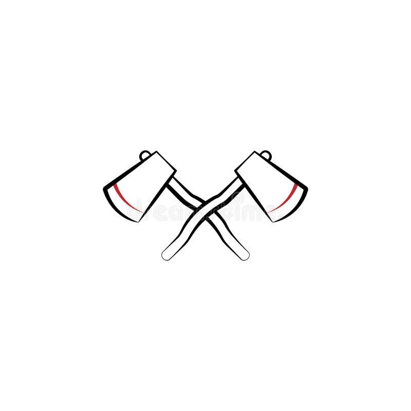 Obozujący, siekierek 2 barwiąca kreskowa ikona Prosta ręka rysująca koloru elementu ilustracja Obozujący, siekierka konturu symbo royalty ilustracja