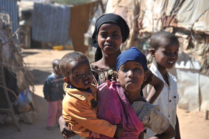 Obozuje dla Afrykańskich uchodźców i wysiedlenów na obrzeżach Hargeisa w Somaliland pod UN auspicjami. obrazy stock