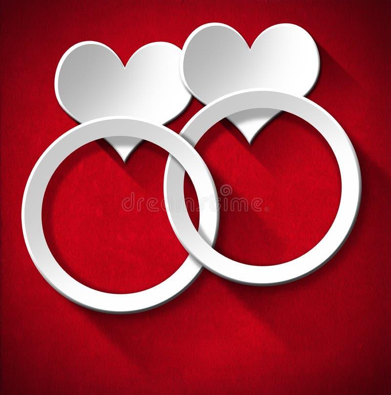 Obrączki Ślubne i Dwa serca royalty ilustracja