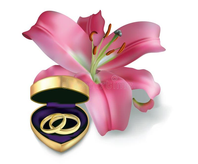 Obrączki ślubne i różowa leluja ilustracji
