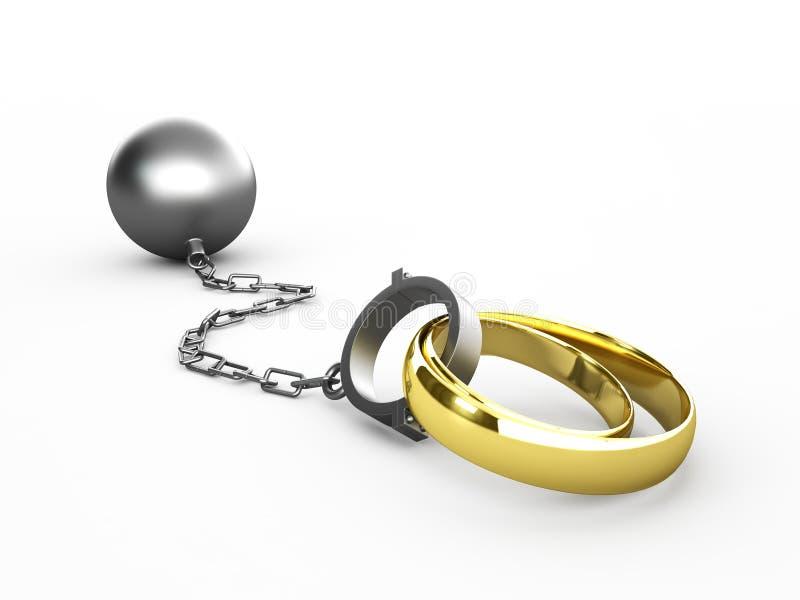 Obrączki ślubne przykuwać w szaklach royalty ilustracja