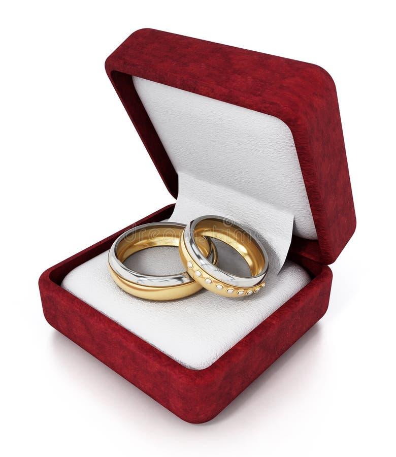 Obrączki ślubne wśrodku czerwonego aksamitnego ringbox ilustracja 3 d royalty ilustracja