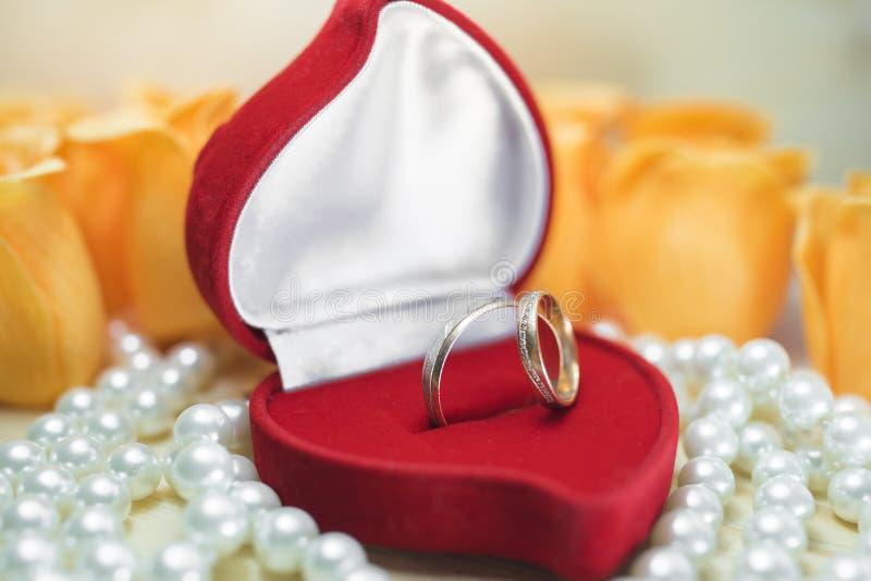 Obrączki ślubne w prezenta pudełku na perłach zdjęcie royalty free