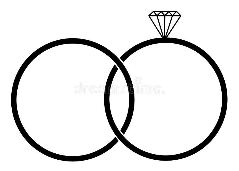 Obrączki ślubnej ikona Element życia poślubiający ludzie royalty ilustracja